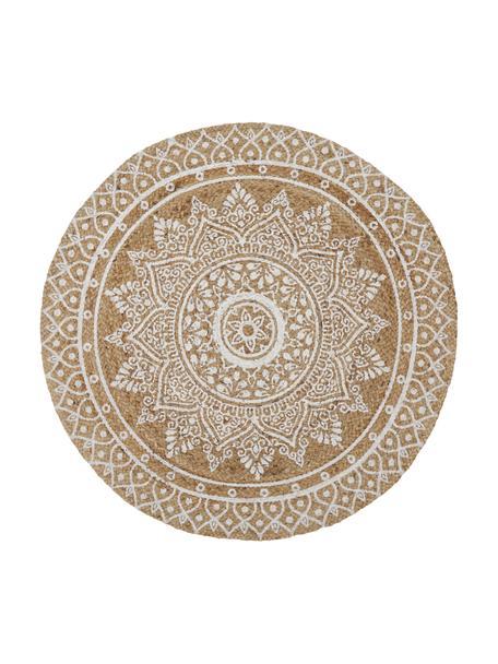 Handgemaakte jute vloerkleed Dahlia, Jute, Beige, wit, Ø 120 cm (maat S)