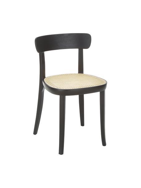 Krzesło z drewna naturalnego z plecionką wiedeńską Richie, 2 szt., Stelaż: lite drewno jesionowe, Czarny, S 45 x W 75 cm