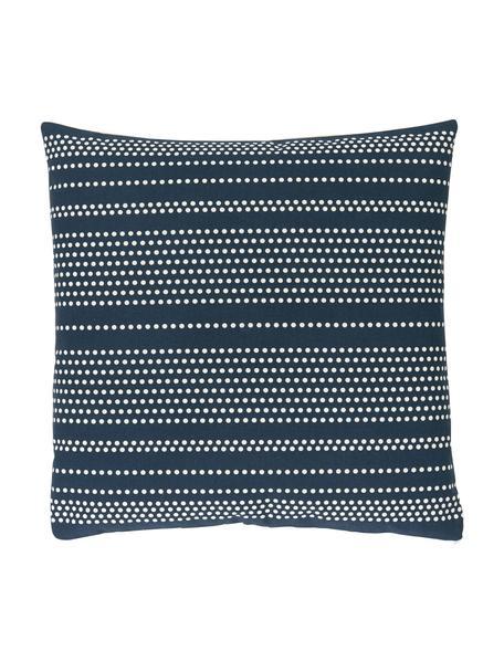 Gepunktete Kissenhülle Davy in Blau/Weiß, 100% Baumwolle, Blau, 45 x 45 cm