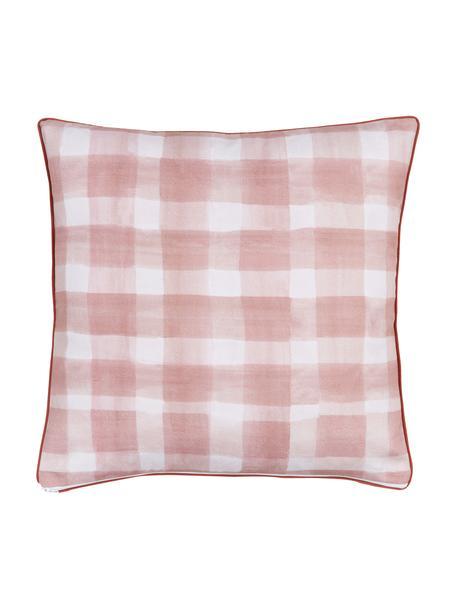 Federa arredo reversibile di Candice Gray Check, 100% cotone, certificato GOTS, Rosa, Larg. 50 x Lung. 50 cm