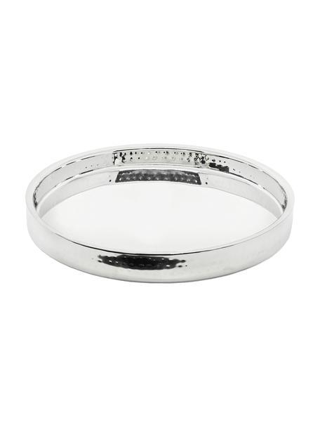 Rundes Spiegeltablett Alaska in Silber, Ø 32 cm, Edelstahl, gehämmert Pflegehinweise  Von Hand spülen, Edelstahl, Ø 32 cm