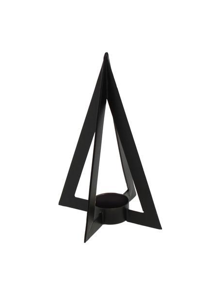 Teelichthalter Niva, Metall, beschichtet, Schwarz, 13 x 19 cm