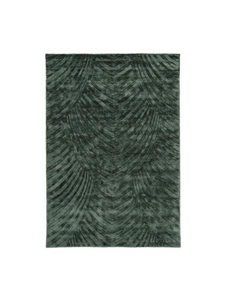 Alfombra artesanal de viscosa Bloom, Parte superior: 100%viscosa, Reverso: 100%algodón, Verde oscuro, An 120 x L 180 cm(Tamaño S)