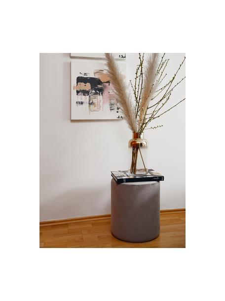 Pouf in velluto grigio Daisy, Rivestimento: velluto (poliestere) Con , Struttura: fibra a media densità, Velluto grigio, Ø 38 x Alt. 45 cm