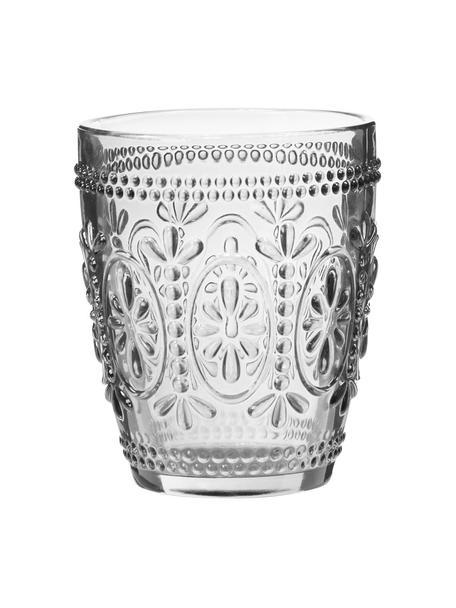 Bicchiere acqua con motivo floreale in rilievo Chambord 6 pz, Vetro, Trasparente, Ø 8 x Alt. 10 cm