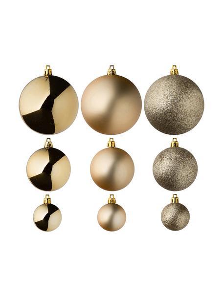 Set 46 palline di Natale infrangibili Natalie, Materiale sintetico infrangibile, Dorato, Set in varie misure