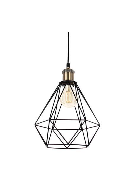 Kleine hanglamp Agnes in industrieel design, Baldakijn: metaal, Lampenkap: metaal, aluminium, Montuur: zwart, messingkleurig, Lampenkap: zwart, Ø 21  x H 22 cm