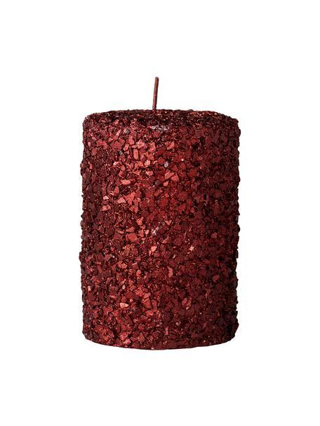 Handgefertigte Stumpenkerze Gliteria H 11 cm , Wachs, Rot, Ø 7 x H 11 cm