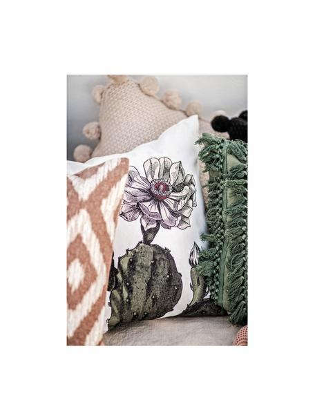 Cojín Desert Bloom, con relleno, Funda: algodón, Blanco, verde oscuro, rosa pálido, An 45 x L 45 cm