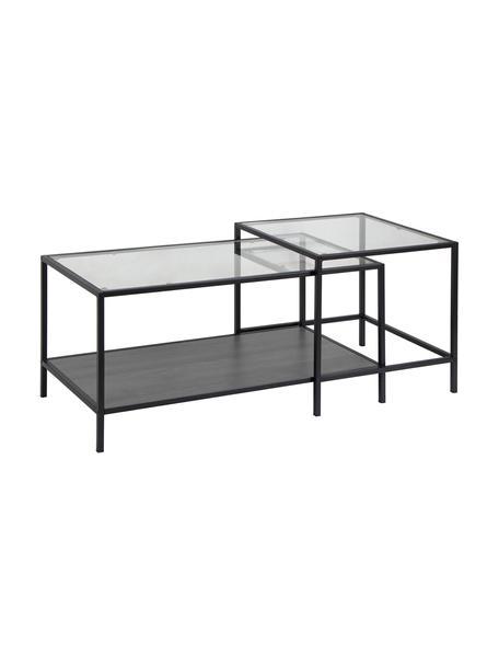 Set de mesa de centro Seaford, tableros de cristal, Estructura: metal, Tablero: vidrio, Estante: tablero de fibras de dens, Negro, transparente, An 90 x F 55 cm