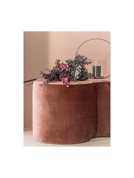 Glanzende fluwelen poef Cloe, Bekleding: polyester (fluweel), glan, Frame: grenenhout, MDF, Roze, B 80 x D 50 cm