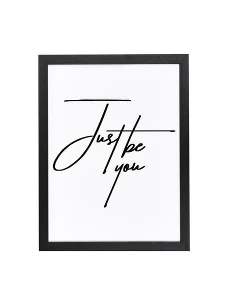 Lámina decorativa Just be You, Negro, blanco, An 33 x Al 43 cm
