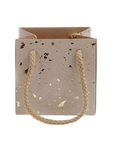 Torba na prezent Carat, 3szt., Brązowy, odcienie złotego, S 13 x W 13 cm