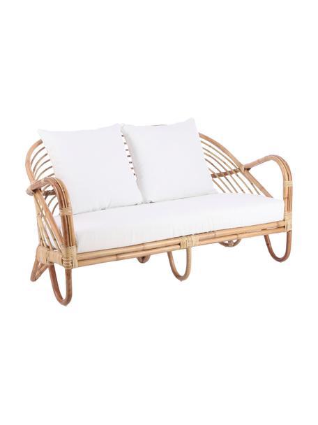 Sofá lounge de ratán Rochester, Estructura: ratán, Tapizado: poliéster, Ratán, blanco, An 140 x F 80 cm