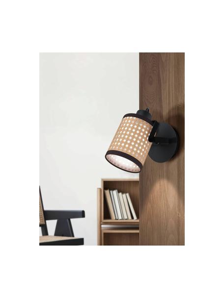 Aplique de tejido vienés Ruscomb, Pantalla: papel, plástico, Estructura: acero recubierto, Beige, negro, An 14 x Al 18 cm