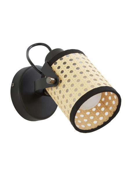 Wandlamp Ruscomb, Lampenkap: papier, kunststof, Beige, zwart, 14 x 18 cm