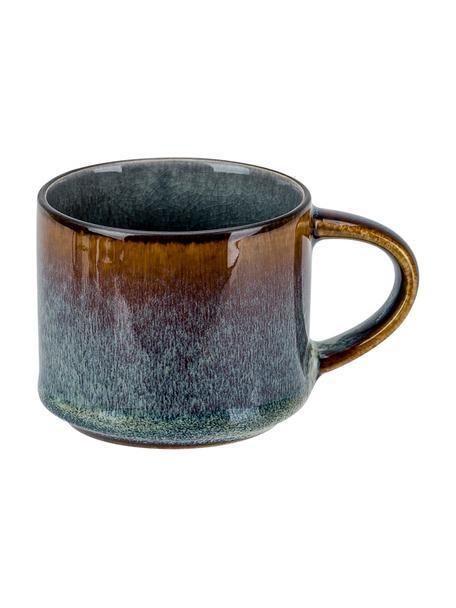 Handgemaakte espresso kopjes Quintana blauw met kleurverloop blauw/bruin, 2 stuks, Porselein, Blauw, bruin, Ø 7 x H 7 cm
