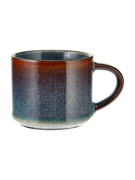 Ręcznie wykonana filiżanka do espresso Quintana, 2 szt., Porcelana, Niebieski, brązowy, Ø 7 x W 7 cm