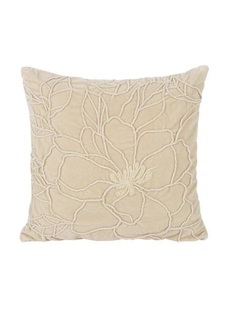 Fluwelen kussen Flower met structuur-patroon en borduurwerk, met vulling, Beige, 45 x 45 cm