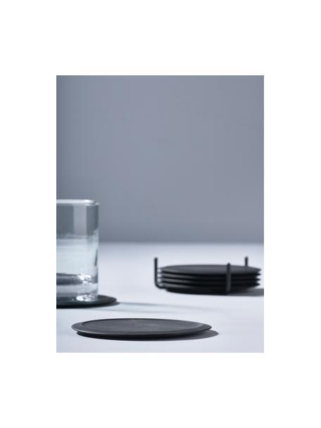 Podstawka z silikonu z uchwytem Plain, 6 szt., Czarny, Ø 10 cm