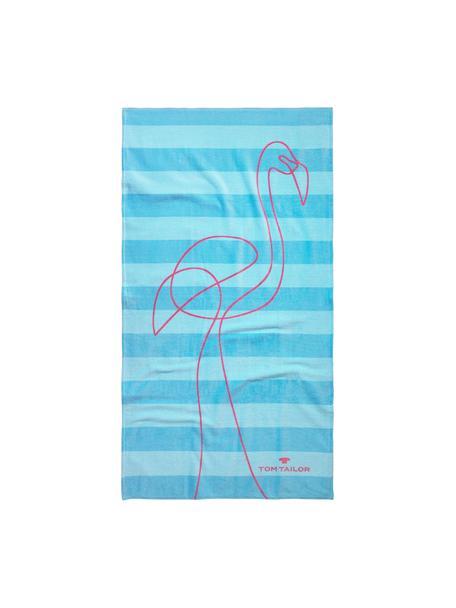 Ręcznik plażowy Flamingo, Odcienie niebieskiego, blady różowy, S 85 x D 160 cm