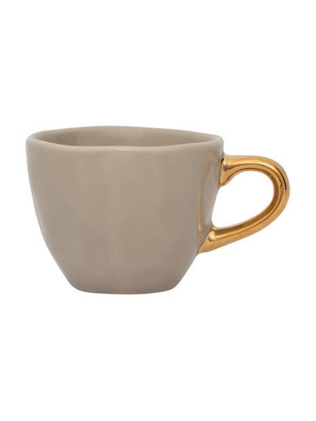 Espressotassen Good Morning in Beige mit goldfarbenem Griff, 2 Stück, Steingut, Beige, Goldfarben, Ø 6 x H 5 cm