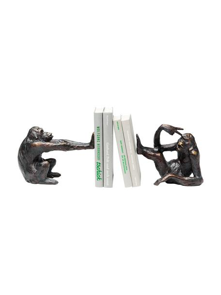 Handgemaakte boekensteunenset Monkey, 2-delig, Polyresin, Zwart, Set met verschillende formaten