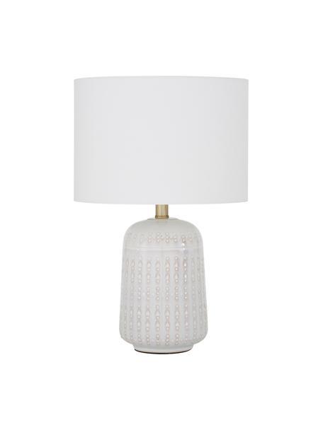 Keramik-Tischlampe Iva, Lampenschirm: Textil, Lampenschirm: WeissLampenfuss: Cremeweiss, Messing, Ø 33 x H 53 cm