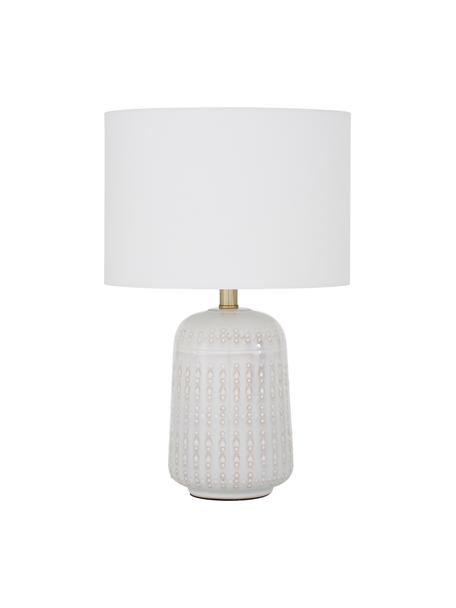 Keramische tafellamp Iva, Lampenkap: textiel, Lampvoet: keramiek, Lampenkap: witte lampvoet: crèmewit, messing, Ø 33 x H 53 cm