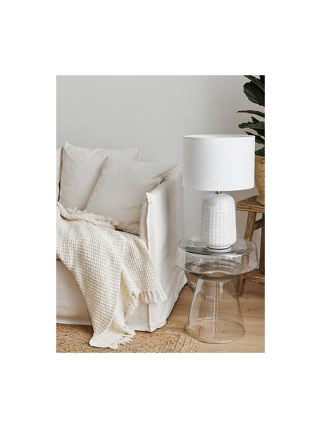 Grote keramische tafellamp Iva, Lampenkap: textiel, Lampvoet: keramiek, Lampenkap: witte lampvoet: crèmewit, messing, Ø 33 x H 53 cm