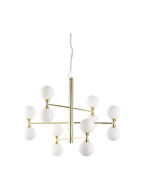 Grote hanglamp Grover met glazen bollen, Baldakijn: metaal, Goudkleurig, Ø 70  x H 56 cm