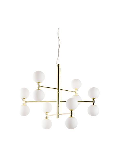 Lampada a sospensione con sfere in vetro Grover, Baldacchino: metallo, Paralume: vetro opale, Dorato, Ø 70 x Alt. 56 cm