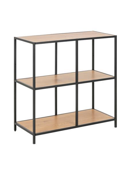 Estantería de madera y metal Seaford, Estantería: tablero de fibras de dens, Estructura: metal con pintura en polv, Negro, roble, An 77 x Al 78 cm