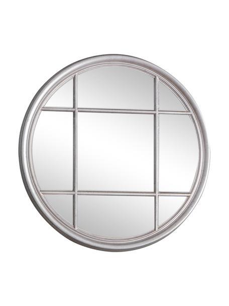Runder Wandspiegel Eccleston mit silbernem Holzrahmen, Rahmen: Holz, lackiert, Spiegelfläche: Spiegelglas, Silberfarben, Ø 100 cm x T 4 cm