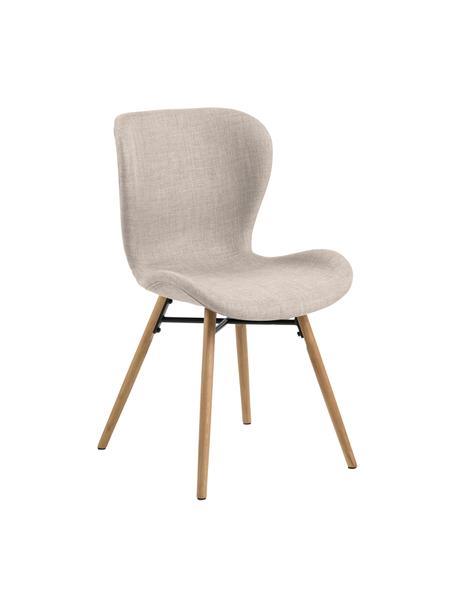 Gestoffeerde stoelen Batilda in zandkleurig, 2 stuks, Bekleding: polyester, Poten: Eikenhout, massief, gelak, Geweven stof zandkleurig, B 56 x D 47 cm