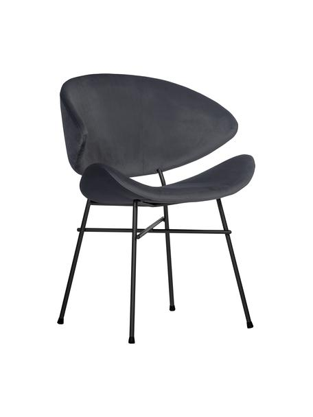 Sedia imbottita in velluto idrorepellente grigio scuro Cheri, Rivestimento: 100% poliestere (velluto), Grigio scuro, nero, Larg. 57 x Prof. 55 cm