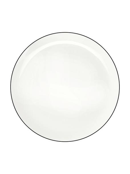 Dinerborden á table ligne noir, 4 stuks, Beenderporselein, Wit. Rand: zwart, Ø 27 cm