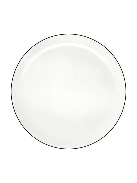 Dinerborden à table ligne noir met zwarte rand, 4 stuks, Beenderporselein (porselein) Fine Bone China is een zacht porselein, dat zich vooral onderscheidt door zijn briljante, doorschijnende glans., Wit. Rand: zwart, Ø 27 cm