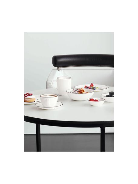 Speiseteller á table ligne noir mit schwarzem Rand, 4 Stück, Fine Bone China (Porzellan) Fine Bone China ist ein Weichporzellan, das sich besonders durch seinen strahlenden, durchscheinenden Glanz auszeichnet., Weiss Rand: Schwarz, Ø 27 cm