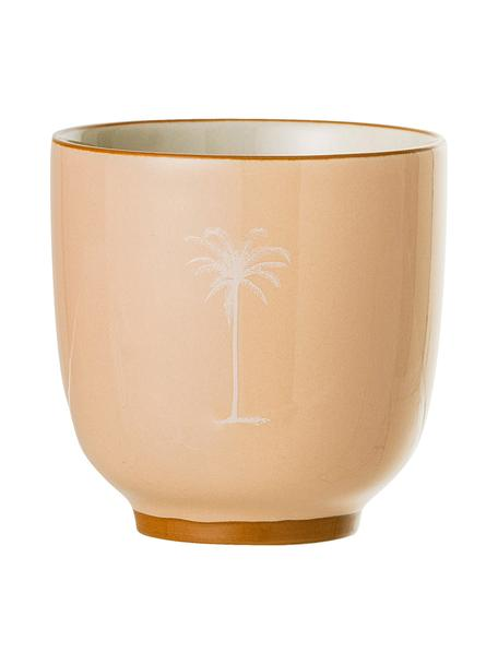 Beker Reese met palm motief, 2 stuks, Keramiek, Zalmroze, lichtbeige, Ø 7 x H 7 cm