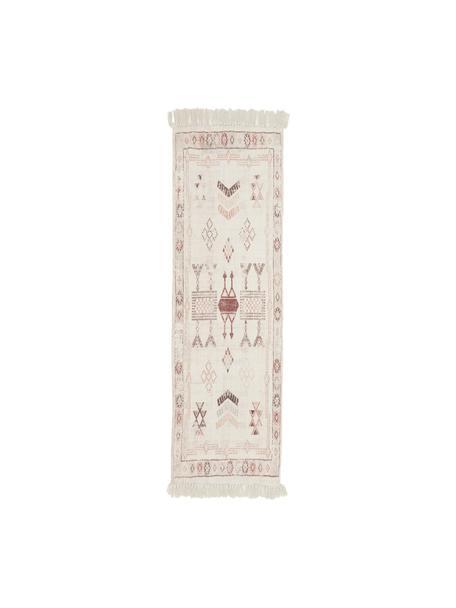 Alfombra de algodón con flecos Tanger, 100%algodón, Crema, terracota, An 60 x L 190 cm