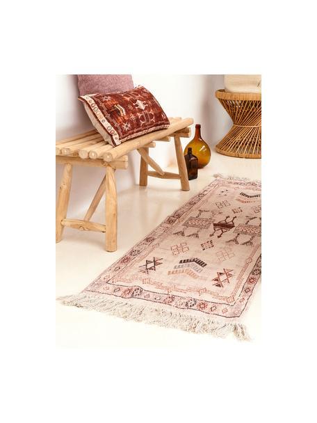 Runner in cotone con frange Tanger, 100% cotone, Color crema, terracotta, Larg. 60 x Lung. 190 cm