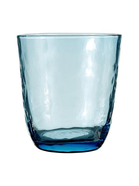 Bicchiere acqua in vetro soffiato Hammered 4 pz, Vetro soffiato, Blu trasparente, Ø 9 x Alt. 10 cm