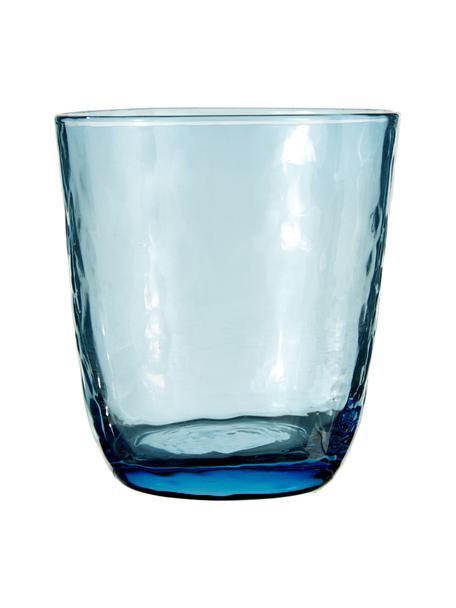 Bicchiere acqua in vetro soffiato irregolare Hammered 4 pz, Vetro soffiato, Blu trasparente, Ø 9 x Alt. 10 cm
