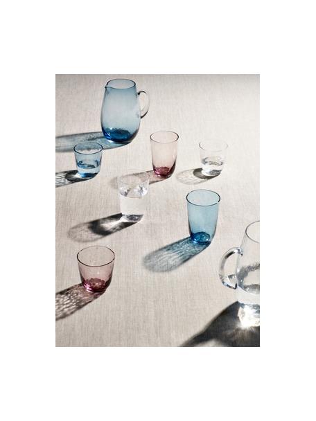 Mondgeblazen waterglazen Hammered, 4 stuks, Mondgeblazen glas, Blauw, transparant, Ø 9 x H 10 cm