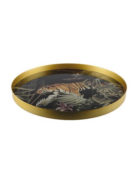 Rond dienblad Tiger, Ø 40 cm, Gecoat metaal, Goudkleurig, zwart, groen, bruin, wit, Ø 40 cm