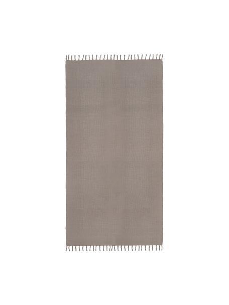Dünner Baumwollteppich Agneta in Grau, handgewebt, 100% Baumwolle, Grau, B 70 x L 140 cm (Größe XS)