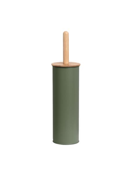 WC-borstel Tallin, Houder: gecoat metaal, Deksel: bamboe, Groen, Ø 10 x H 38 cm