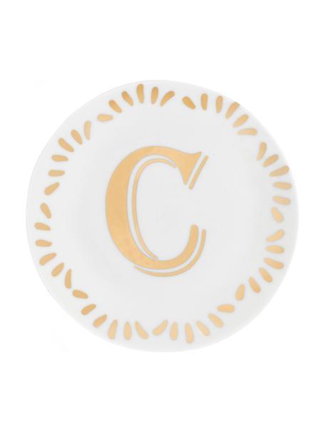 Piatto colazione in porcellana Yours (varianti dalla A alla Z), Porcellana, Bianco, dorato, Piatto C