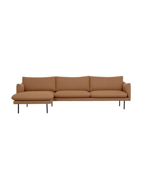 Ecksofa Moby in Nougat mit Metall-Füssen, Bezug: Polyester Der hochwertige, Webstoff Nougat, B 280 x T 160 cm
